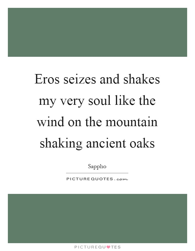 Eros seizes and shakes my very soul like the wind on the mountain shaking ancient oaks Picture Quote #1