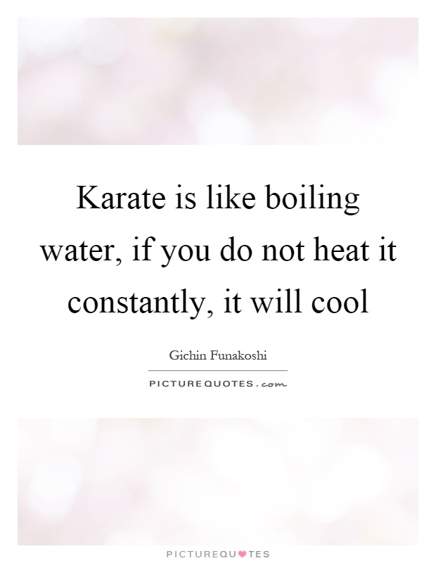 Karate is like boiling water, if you do not heat it constantly, it will cool Picture Quote #1