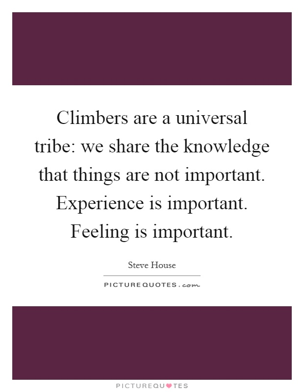 Climbers are a universal tribe: we share the knowledge that things are not important. Experience is important. Feeling is important Picture Quote #1