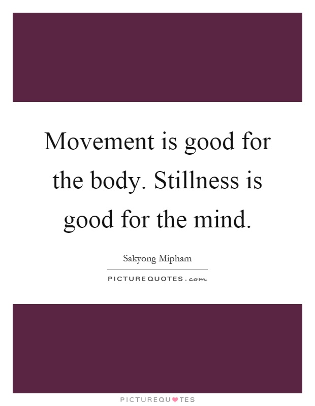 Movement is good for the body. Stillness is good for the mind Picture Quote #1