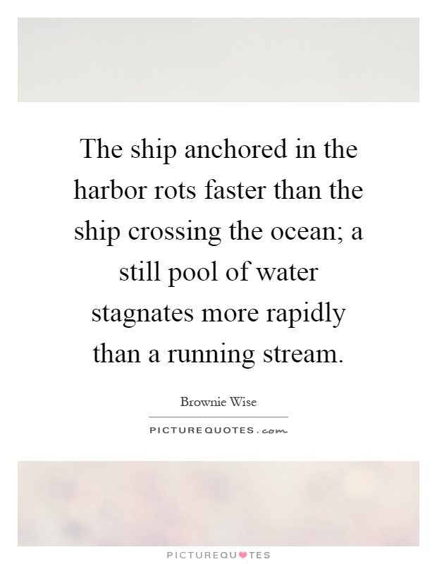 The ship anchored in the harbor rots faster than the ship crossing the ocean; a still pool of water stagnates more rapidly than a running stream Picture Quote #1
