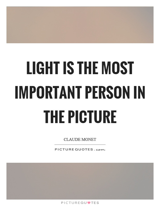 Light is the most important person in the picture Picture Quote #1
