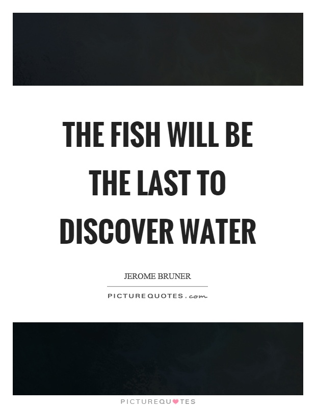 The fish will be the last to discover water Picture Quote #1