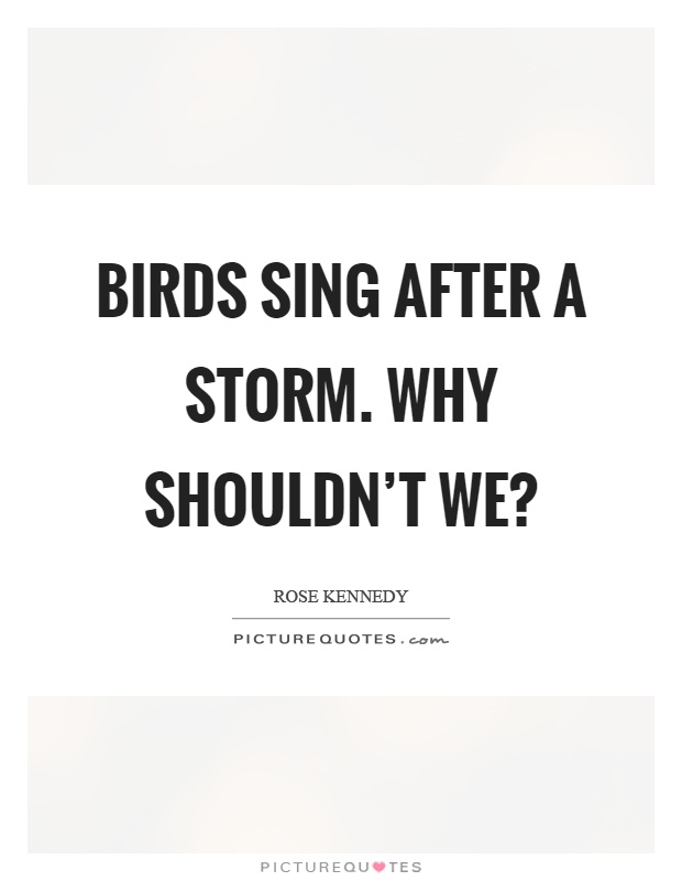 Birds sing after a storm. Why shouldn't we? Picture Quote #1