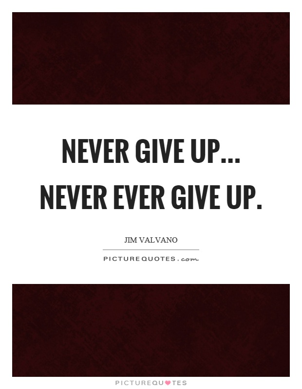 Never give up... never ever give up Picture Quote #1
