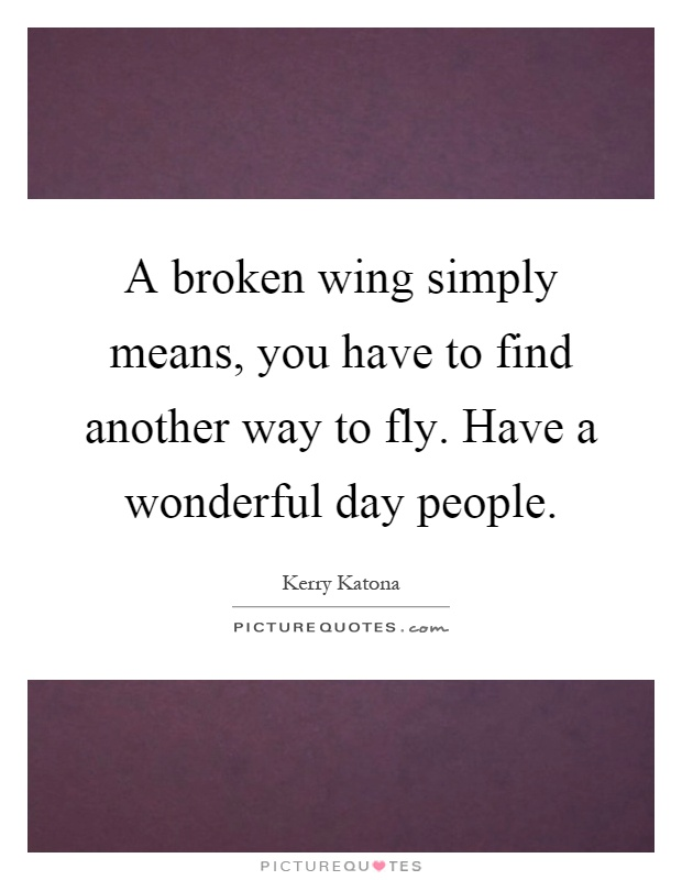 A broken wing simply means, you have to find another way to fly. Have a wonderful day people Picture Quote #1