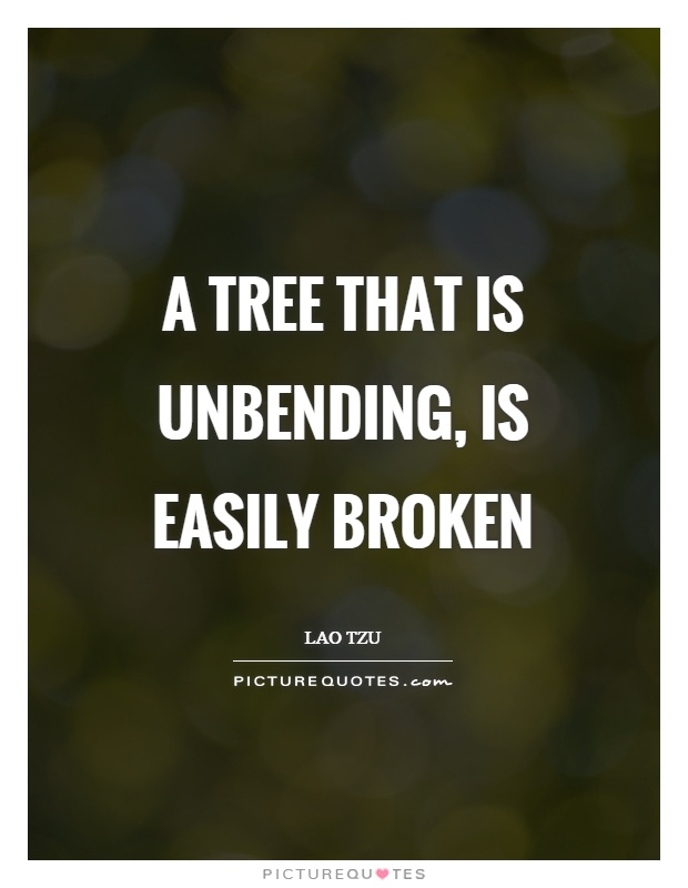 A tree that is unbending, is easily broken Picture Quote #1