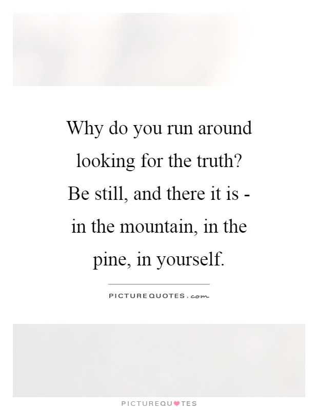 Why do you run around looking for the truth? Be still, and there it is - in the mountain, in the pine, in yourself Picture Quote #1