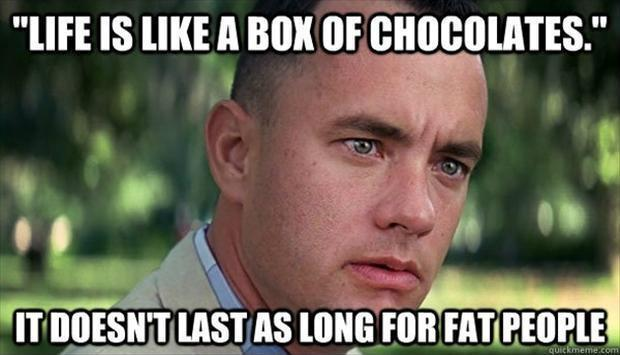Life is like a box of chocolates. It doesn't last as long for fat people Picture Quote #1