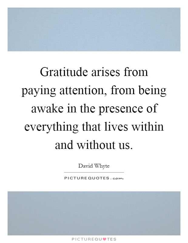 Gratitude arises from paying attention, from being awake in the presence of everything that lives within and without us Picture Quote #1
