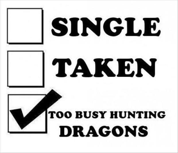 Single. Taken. Too busy hunting dragons Picture Quote #1