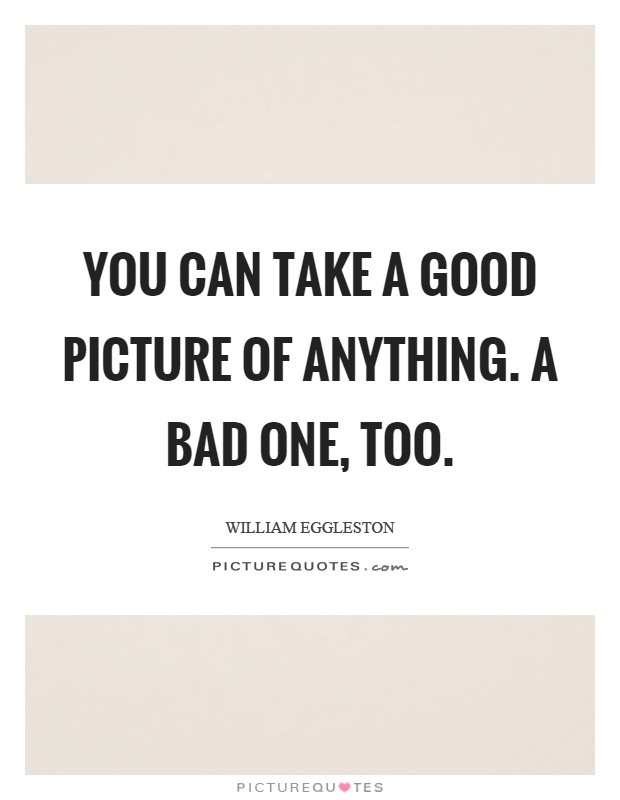 You can take a good picture of anything. A bad one, too Picture Quote #1
