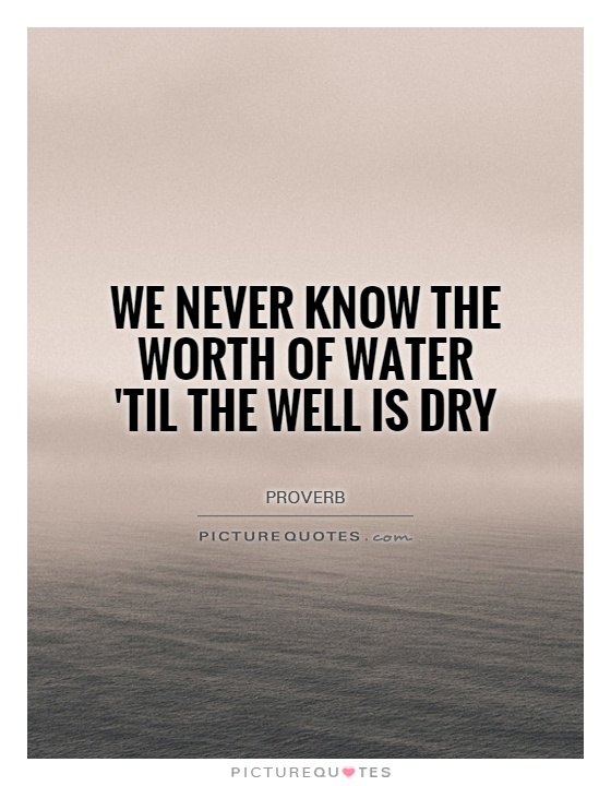 We never know the worth of water 'til the well is dry Picture Quote #1