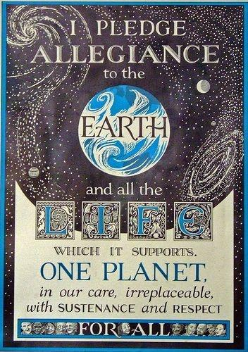 I pledge allegiance to the Earth and all the life which it supports. One planet, in our care, irreplaceable, with sustenance and respect for all Picture Quote #1
