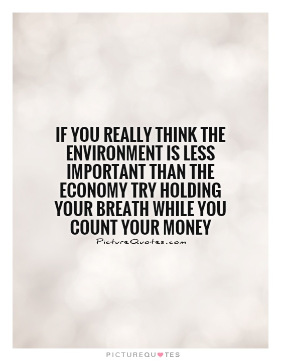 If you really think the environment is less important than the economy try holding your breath while you count your money Picture Quote #1