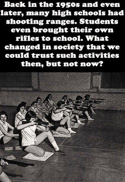 Back in the 1950's and even later, many high schools had shooting ranges. Students even brought their own rifles to school. What changed in society that we could trust such activities then, but not now? Picture Quote #1