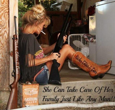 She can take care of her family just like any man! Picture Quote #1