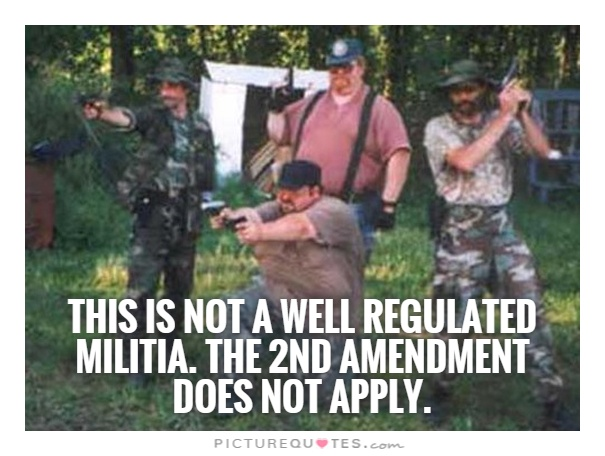 This is not a well regulated militia. The 2nd amendment does not apply Picture Quote #1