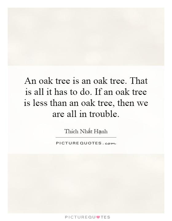 An Oak Tree Is An Oak Tree That Is All It Has To Do If An Oak