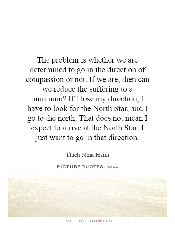 The problem is whether we are determined to go in the direction of compassion or not. If we are, then can we reduce the suffering to a minimum? If I lose my direction, I have to look for the North Star, and I go to the north. That does not mean I expect to arrive at the North Star. I just want to go in that direction Picture Quote #1