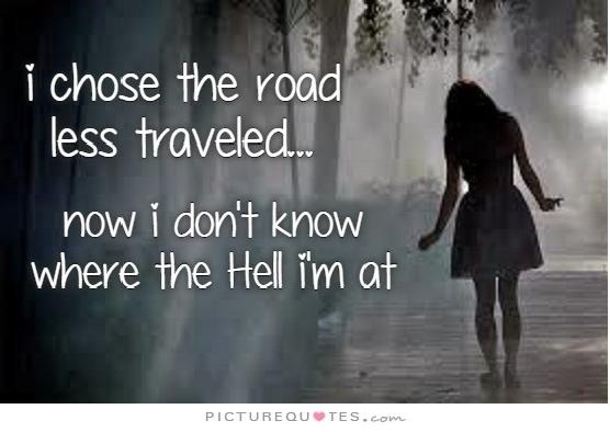 I chose the road less traveled... now I don't know where the hell I'm at Picture Quote #1