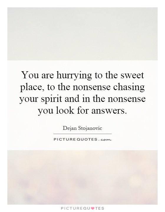 You are hurrying to the sweet place, to the nonsense chasing your spirit and in the nonsense you look for answers Picture Quote #1
