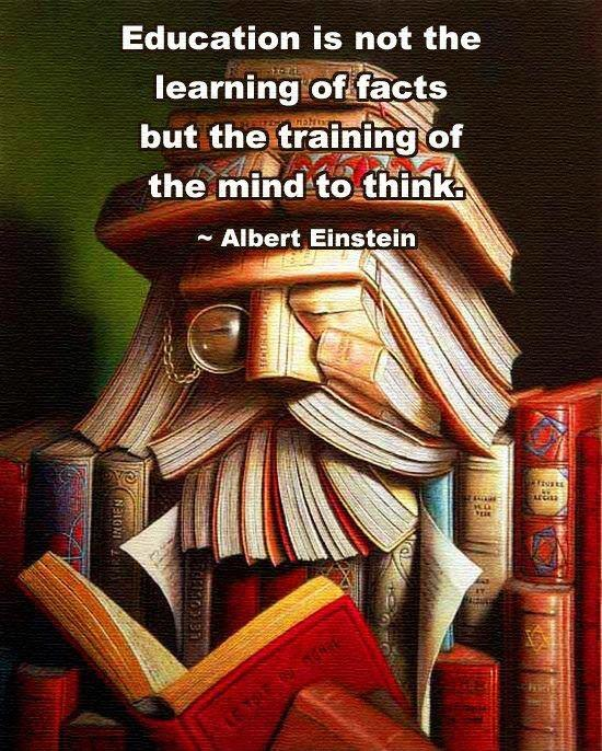 Education is not the learning of facts but the training of the mind to think Picture Quote #1