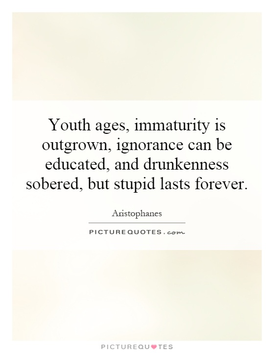 Youth ages, immaturity is outgrown, ignorance can be educated, and drunkenness sobered, but stupid lasts forever Picture Quote #1