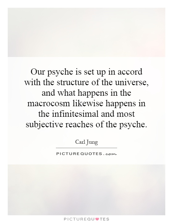 Our psyche is set up in accord with the structure of the universe, and what happens in the macrocosm likewise happens in the infinitesimal and most subjective reaches of the psyche Picture Quote #1