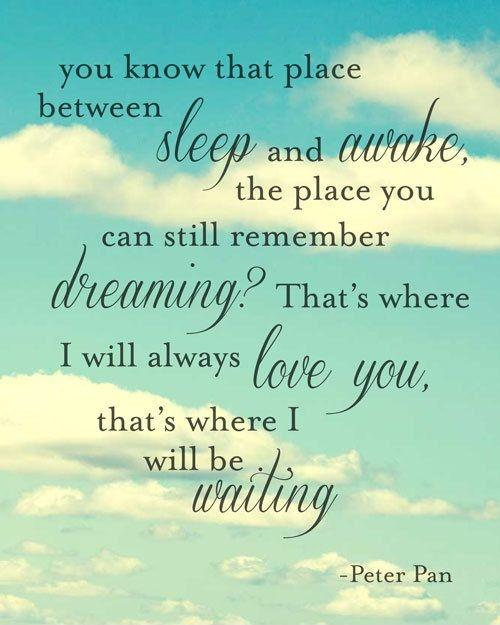 You know that place between sleep and awake, the place where you can still remember dreaming? That's where I will always love you, that's where I will be waiting Picture Quote #1