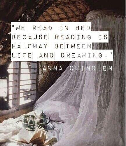We read in bed because reading is halfway between life and dreaming, our own consciousness in someone else's mind Picture Quote #1