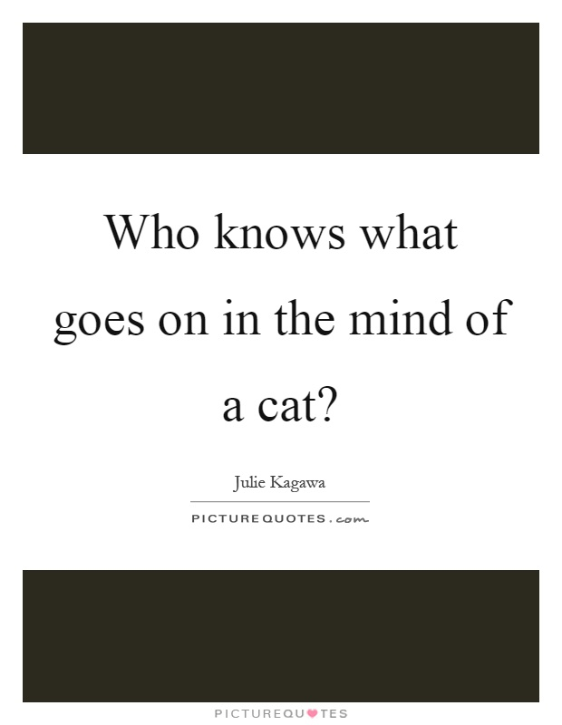Who knows what goes on in the mind of a cat? Picture Quote #1