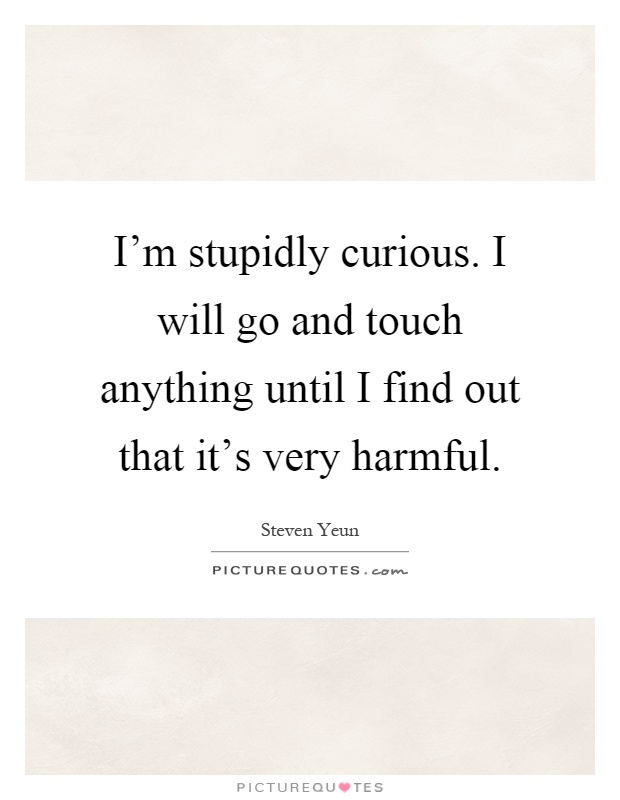I'm stupidly curious. I will go and touch anything until I find out that it's very harmful Picture Quote #1