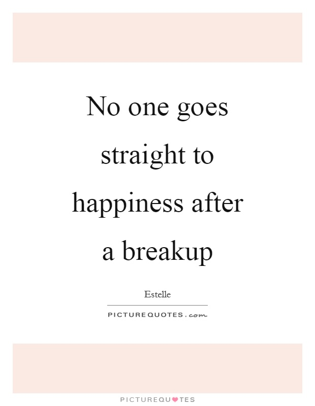 No one goes straight to happiness after a breakup Picture Quote #1