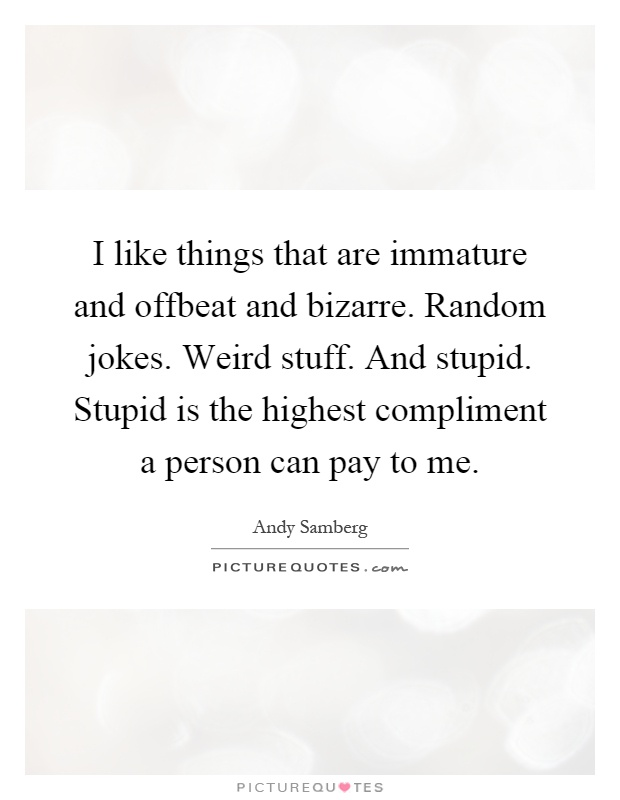 I like things that are immature and offbeat and bizarre. Random jokes. Weird stuff. And stupid. Stupid is the highest compliment a person can pay to me Picture Quote #1