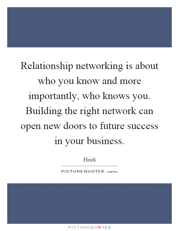 Relationship networking is about who you know and more importantly, who knows you. Building the right network can open new doors to future success in your business Picture Quote #1