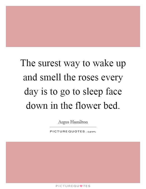 The surest way to wake up and smell the roses every day is to go to sleep face down in the flower bed Picture Quote #1