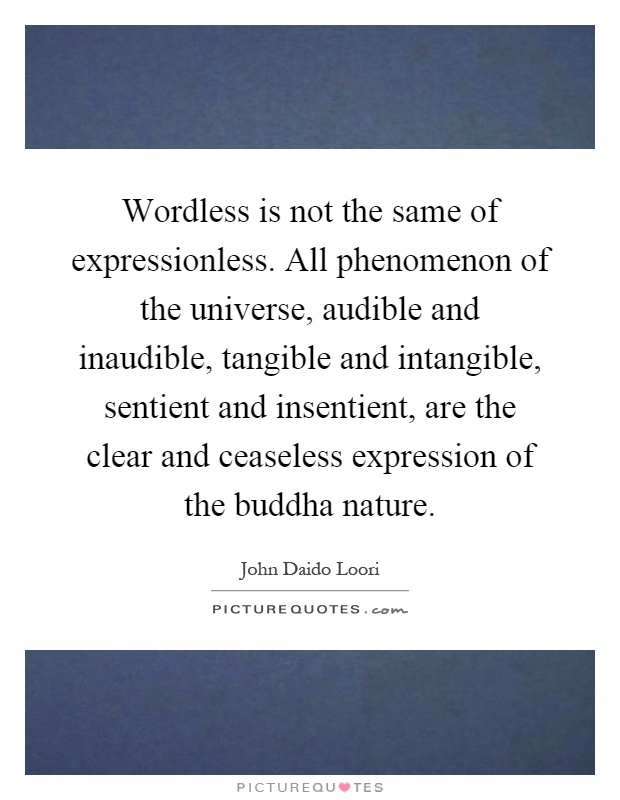 Wordless is not the same of expressionless. All phenomenon of the universe, audible and inaudible, tangible and intangible, sentient and insentient, are the clear and ceaseless expression of the buddha nature Picture Quote #1