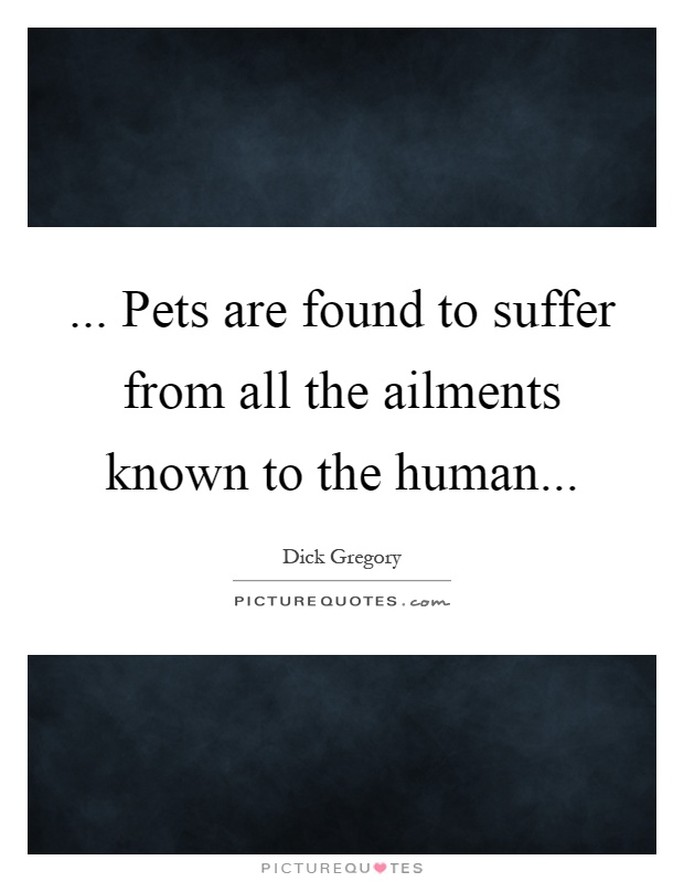 ... Pets are found to suffer from all the ailments known to the human Picture Quote #1
