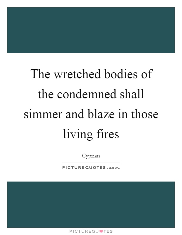 The wretched bodies of the condemned shall simmer and blaze in those living fires Picture Quote #1