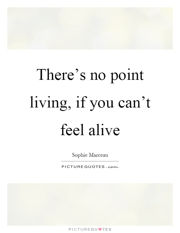 There's no point living, if you can't feel alive Picture Quote #1