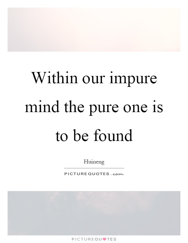 Within our impure mind the pure one is to be found Picture Quote #1