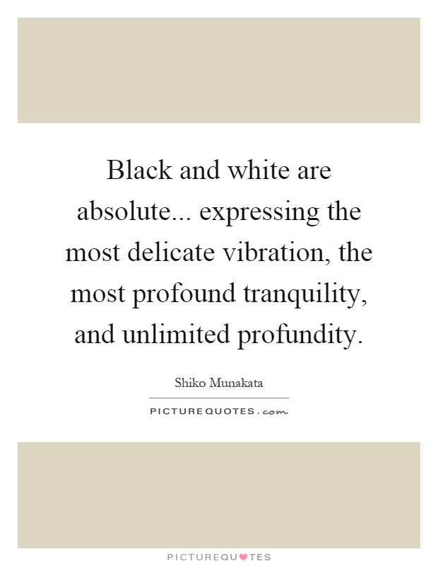 Black and white are absolute... expressing the most delicate vibration, the most profound tranquility, and unlimited profundity Picture Quote #1