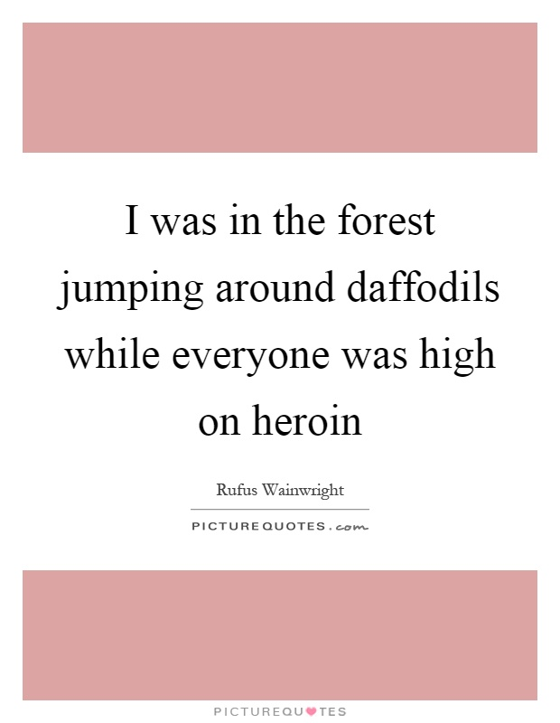 I was in the forest jumping around daffodils while everyone was high on heroin Picture Quote #1