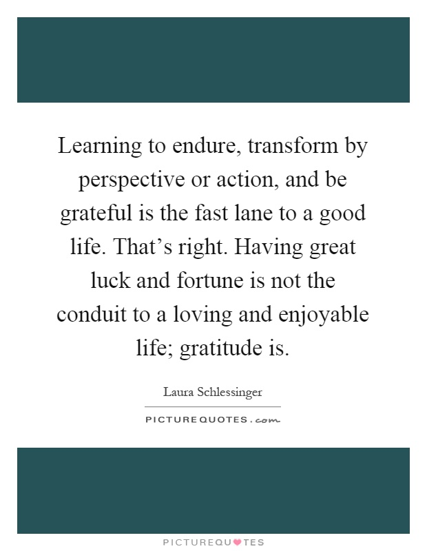 Learning to endure, transform by perspective or action, and be grateful is the fast lane to a good life. That's right. Having great luck and fortune is not the conduit to a loving and enjoyable life; gratitude is Picture Quote #1