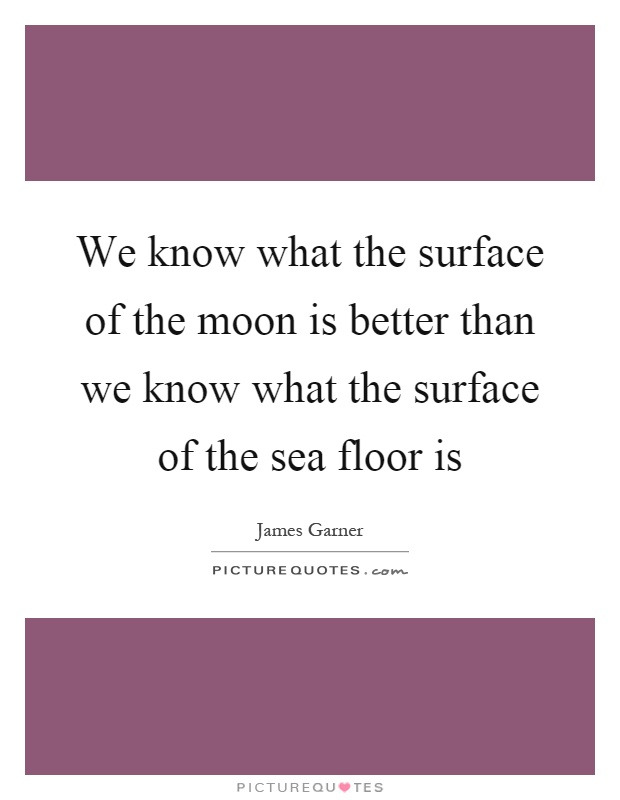 We know what the surface of the moon is better than we know what the surface of the sea floor is Picture Quote #1
