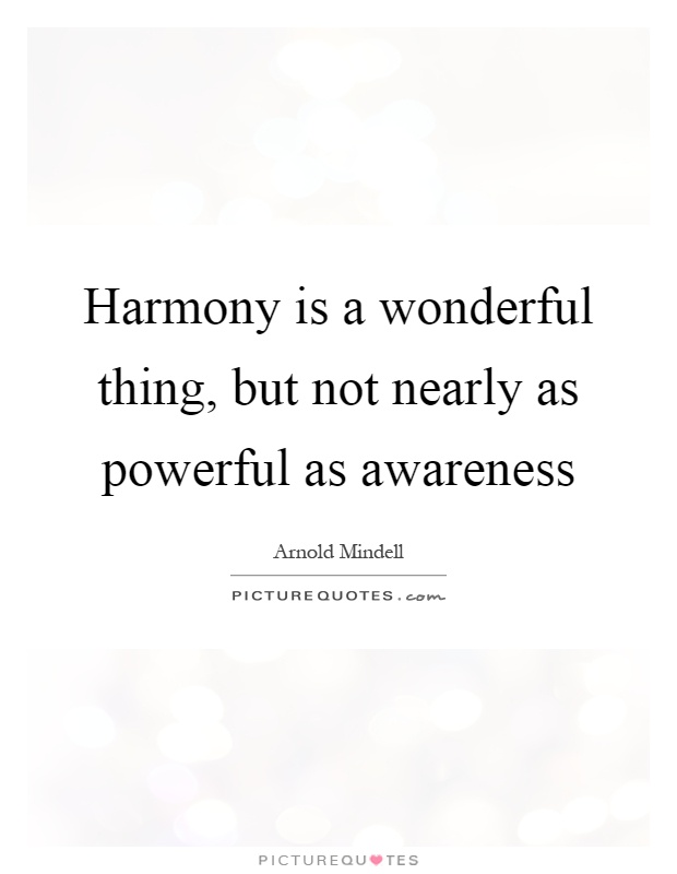 Harmony is a wonderful thing, but not nearly as powerful as awareness Picture Quote #1