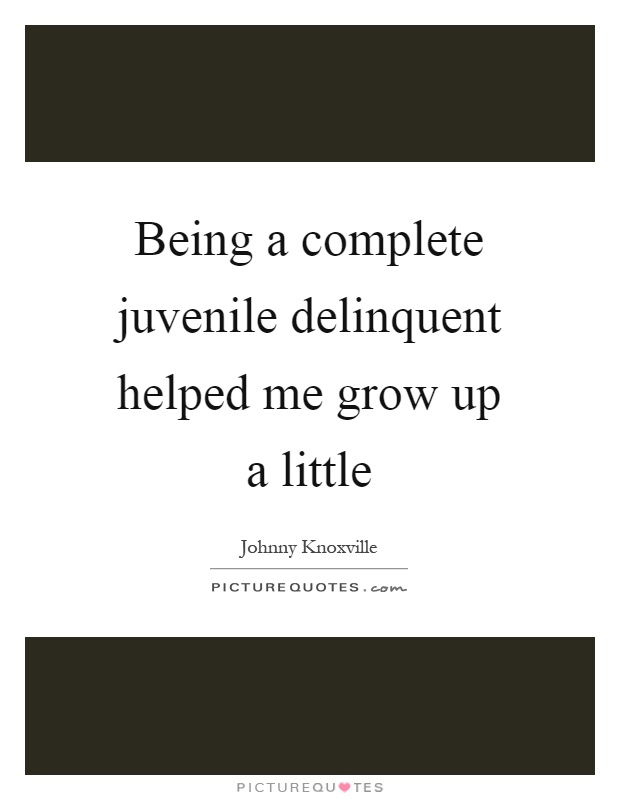 Being a complete juvenile delinquent helped me grow up a little Picture Quote #1