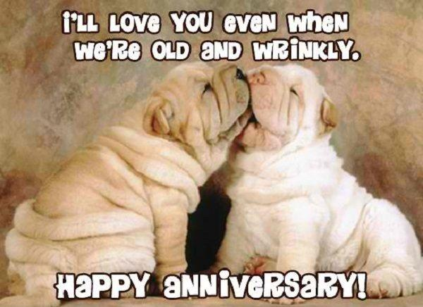 I'll love you even when we're old and wrinkly. Happy anniversary! Picture Quote #1