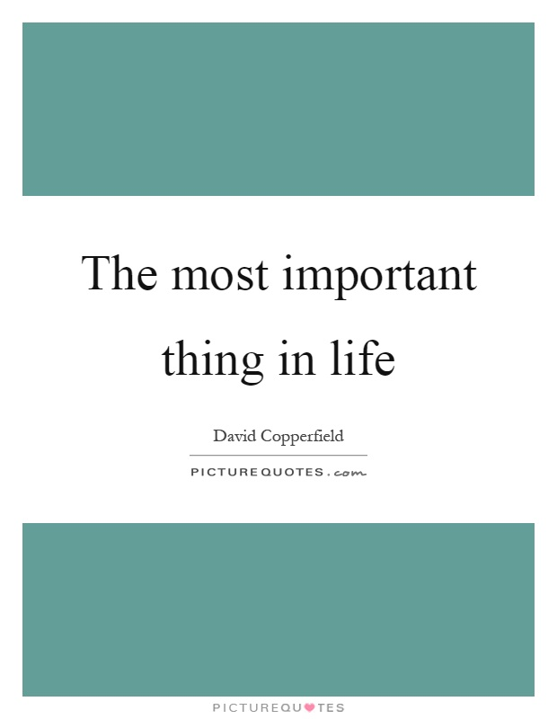The most important thing in life Picture Quote #1